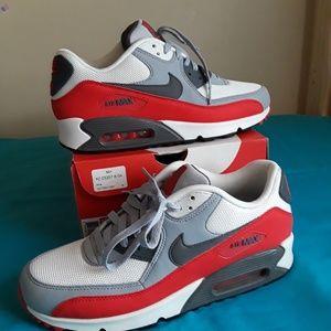 Nike Air Max 90 Essential Grey Red Sz 9 Men